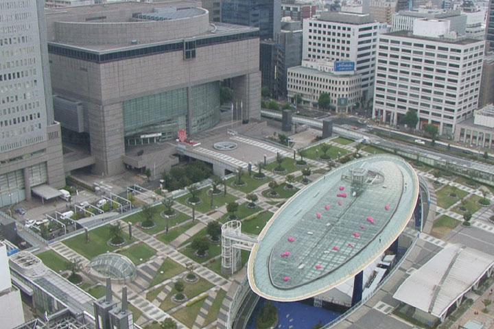 テレビ塔から見たオアシス21と芸術文化センター
