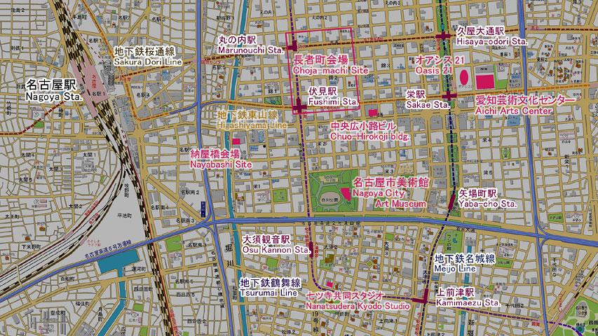 あいちトリエンナーレ2010の主要会場図
