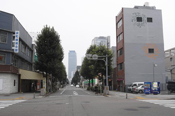 旧玉屋ビルの壁面に描かれた淺井裕介の作品