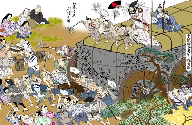 加藤清正 名古屋城石引きの図(モノクロの尾張名所図会をデジタルでイメージ着色)