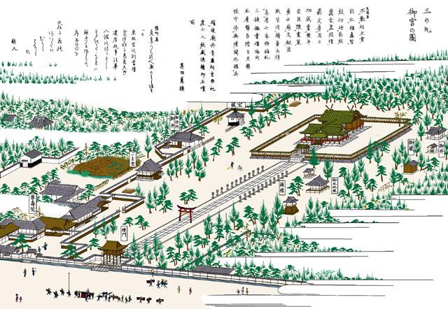 三の丸東照宮(モノクロの尾張名所図会をデジタルでイメージ着色)