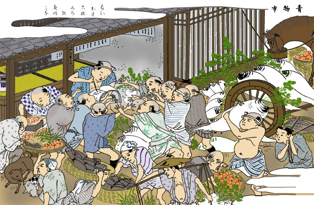 下小田井青果物問屋(モノクロの尾張名所図会をデジタルでイメージ着色)