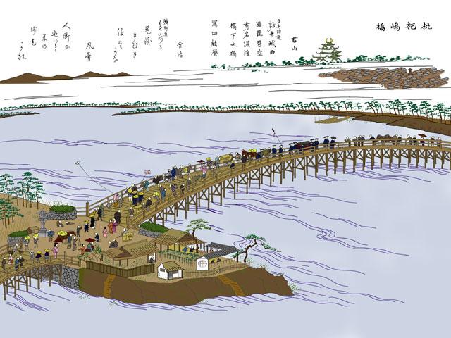 枇杷島橋(モノクロの尾張名所図会をデジタルでイメージ着色)