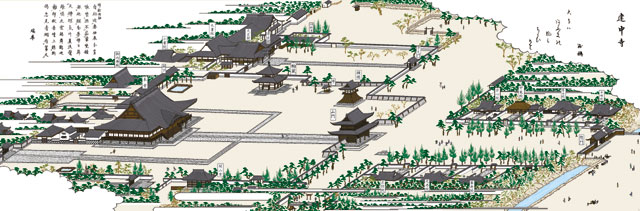 建中寺本堂(白黒の尾張名所図会をイメージ着色)
