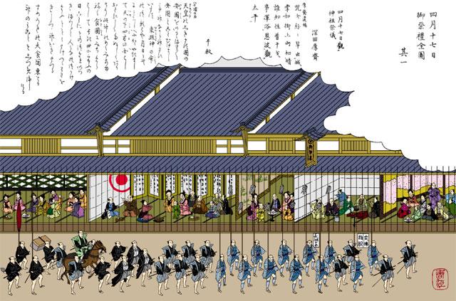 神輿渡御の行列(白黒の尾張名所図会をイメージ着色)