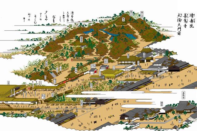 清寿院(大須)(白黒の尾張名所図会をイメージ着色)