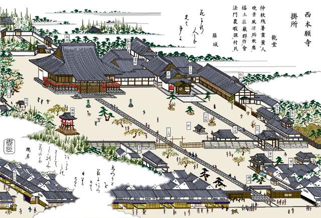 西本願寺別院(白黒の尾張名所図会をイメージ着色)