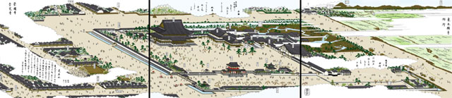 東本願寺別院(白黒の尾張名所図会をイメージ着色)