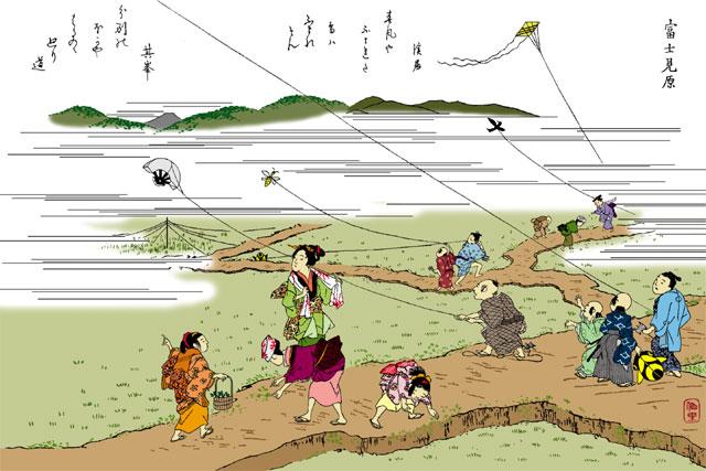 富士見原(白黒の尾張名所図会をイメージ着色)