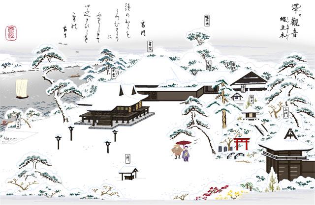 沢観音妙安寺(白黒の尾張名所図会をイメージ着色)