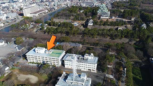 写真中央の農林総合庁舎あたりに三の丸東照宮があった。