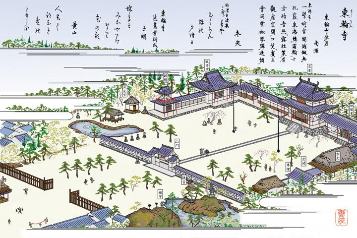 東輪寺(黄檗宗)ー尾張名所図絵イメージ着色