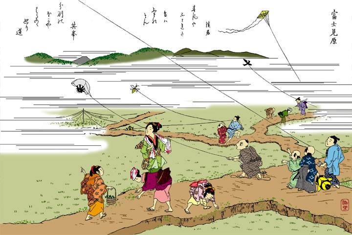 富士見原(尾張名所図絵イメージ着色)