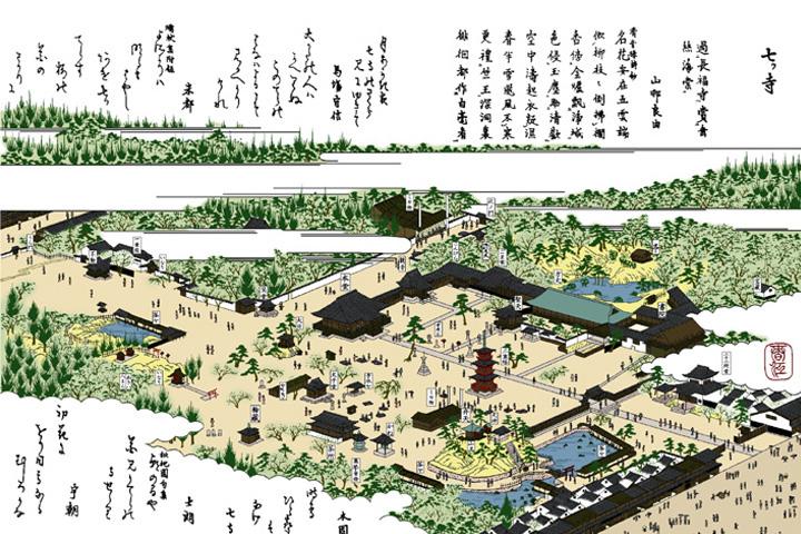 七ッ寺(尾張名所図絵イメージ着色)