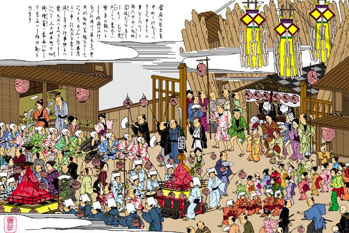 大須梵天祭(尾張名所図絵イメージ着色)