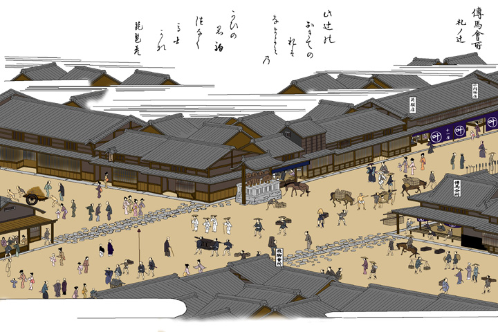 伝馬会所(美濃路・本町追分-尾張名所図絵)