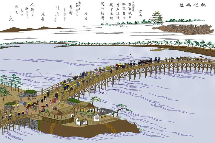 枇杷島橋(尾張名所図絵)