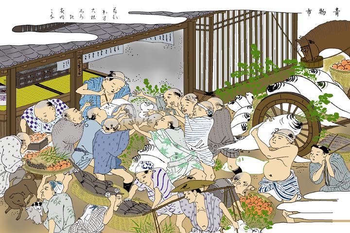 下小田井青果物問屋(尾張名所図絵)