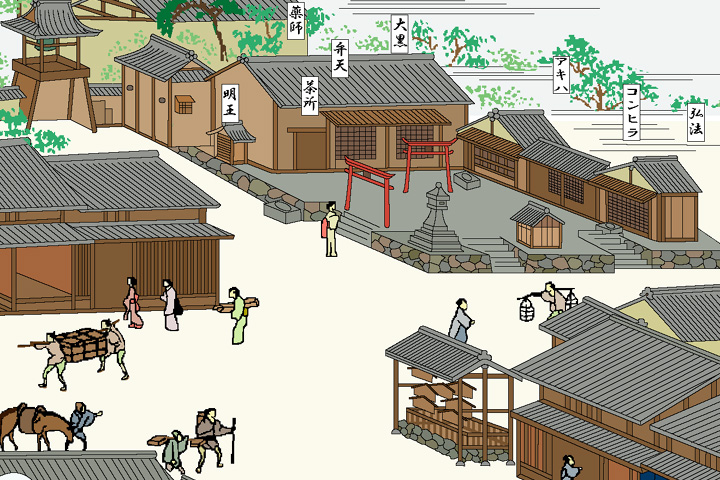 清涼寺と札の辻(尾張名所図絵)