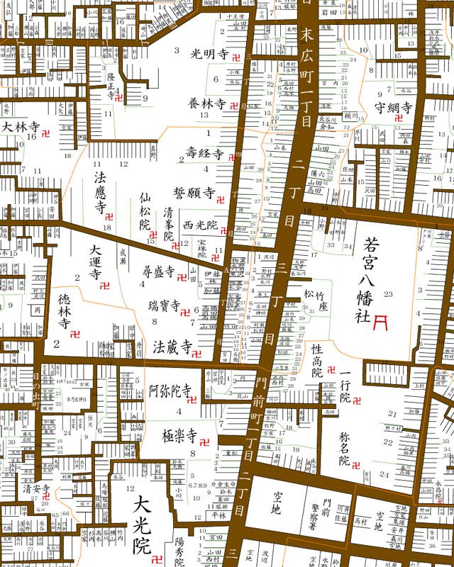 昭和初頭の南寺町寺院群