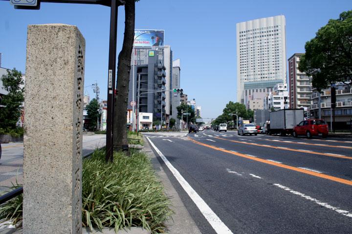 伏見通(国道19号線)越しに見える金山南ビル