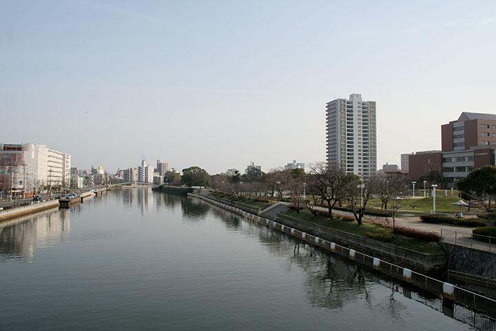 堀川から白鳥方面を見る