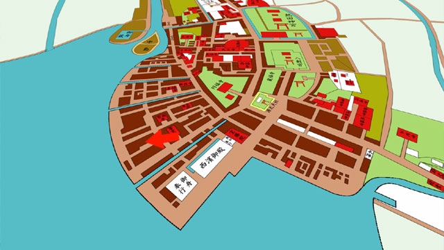 江戸後期の名古屋城下図を拡大