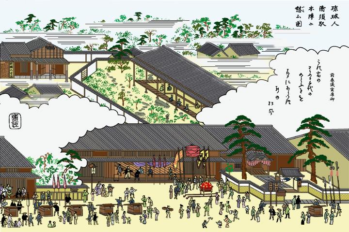 琉球人清須宿本陣に憩う(尾張名所図会)