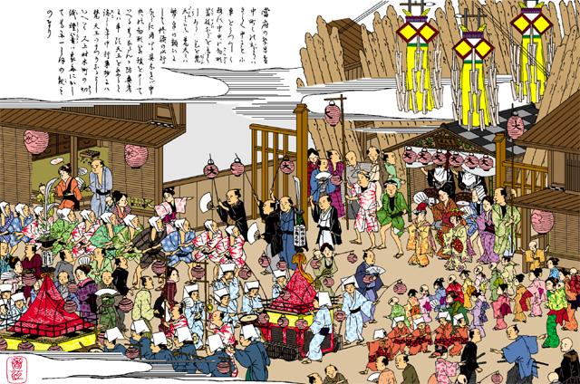 梵天祭(大須)(白黒の尾張名所図会をイメージ着色)