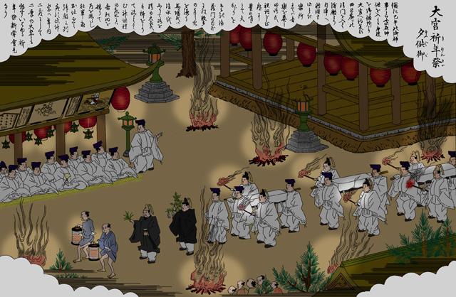 熱田神宮 祈年祭夕供御(白黒の尾張名所図会をイメージ着色)
