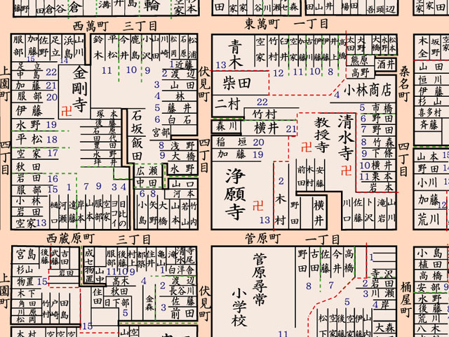 昭和8年頃の浄願寺周辺地図