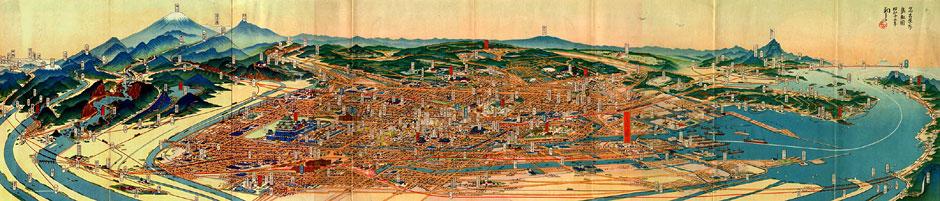 名古屋市鳥瞰図 画:吉田初三郎