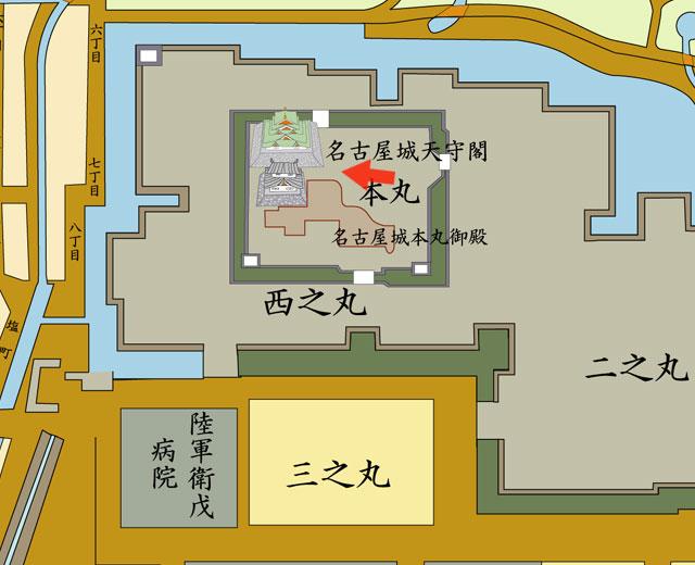 矢印の方向から名古屋城を撮影