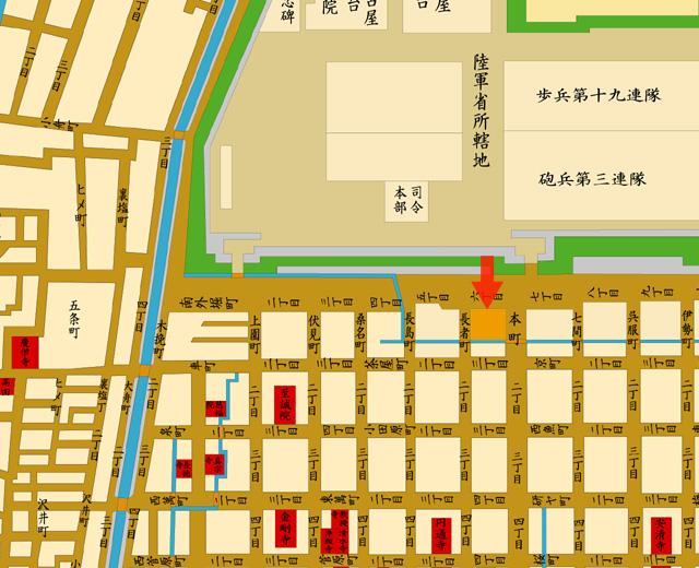 矢印の方向から名古屋裁判所を撮影
