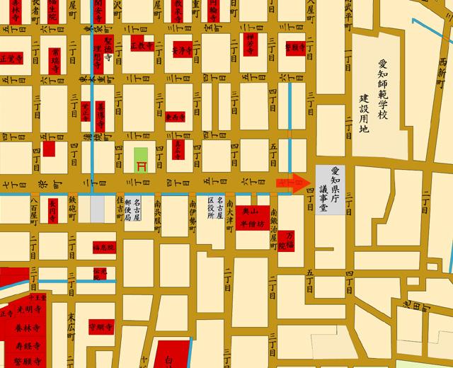 明治20年地図 矢印の方向から撮影