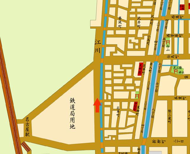 矢印の方向から江川線を撮影