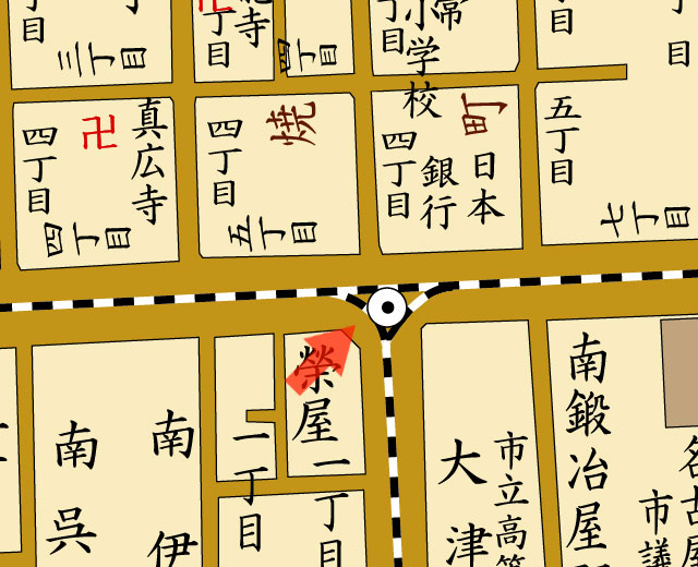 矢印の方向から日本銀行名古屋支店を撮影