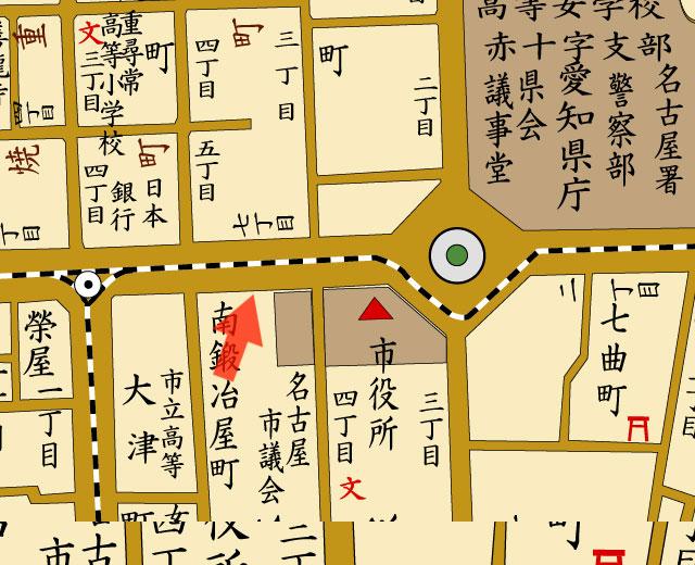矢印の方向から名古屋商業会議所を撮影