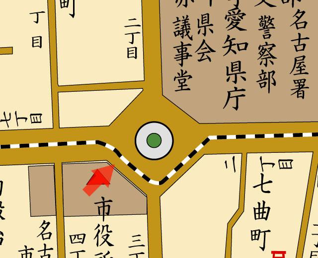 矢印の方向から栄町官庁街を撮影