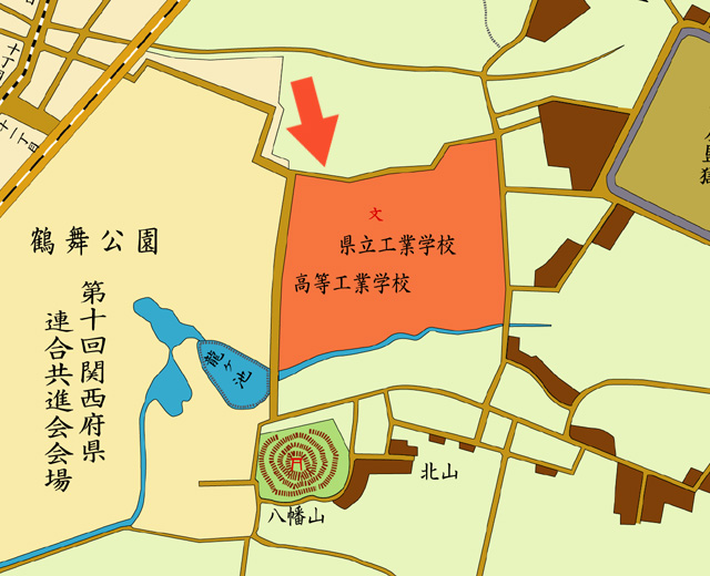 明治43年地図 矢印の方向から撮影