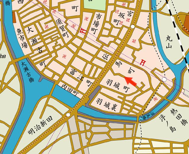 昭和8年地図 河川改修埋立後