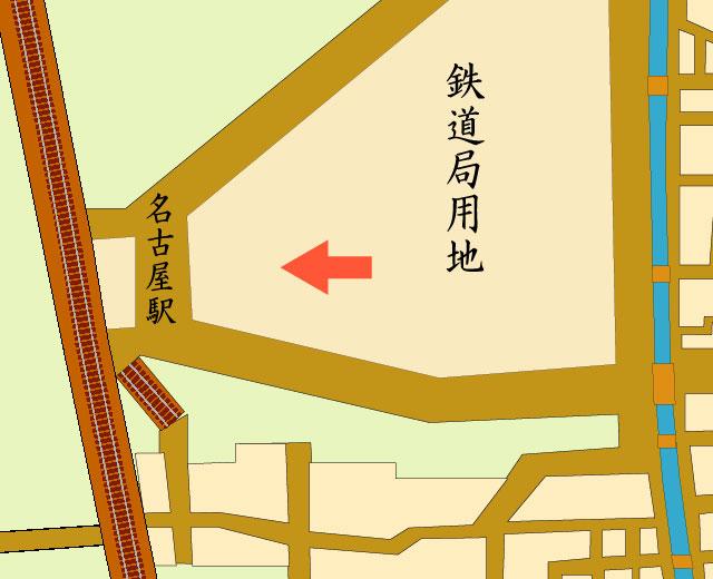 矢印の方向から広小路を撮影