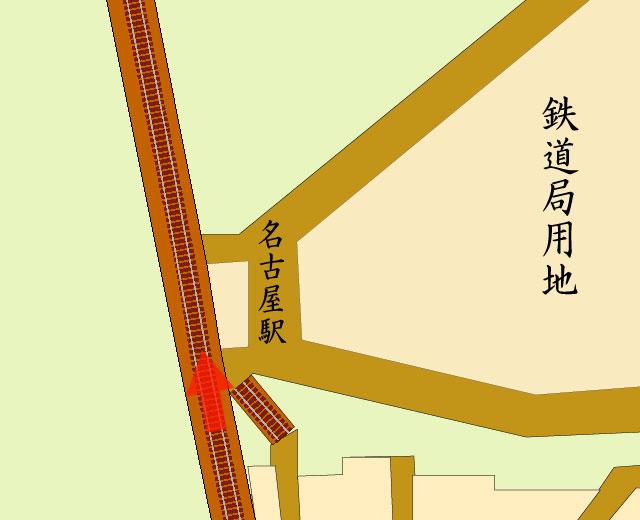 矢印の方向から開業当時の名古屋駅構内を撮影