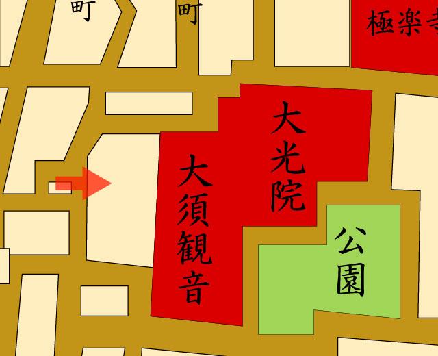 矢印の方向から大須観音 明治14年(1882) を撮影