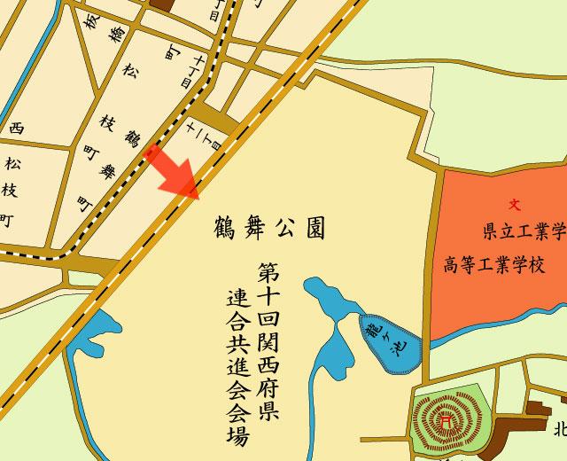 矢印の方向から関西府県連合共進会全景を撮影