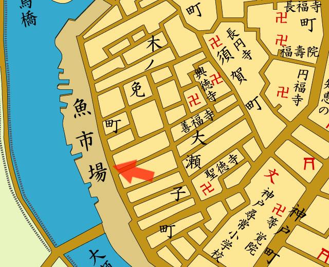 矢印の方向から熱田魚市場を撮影
