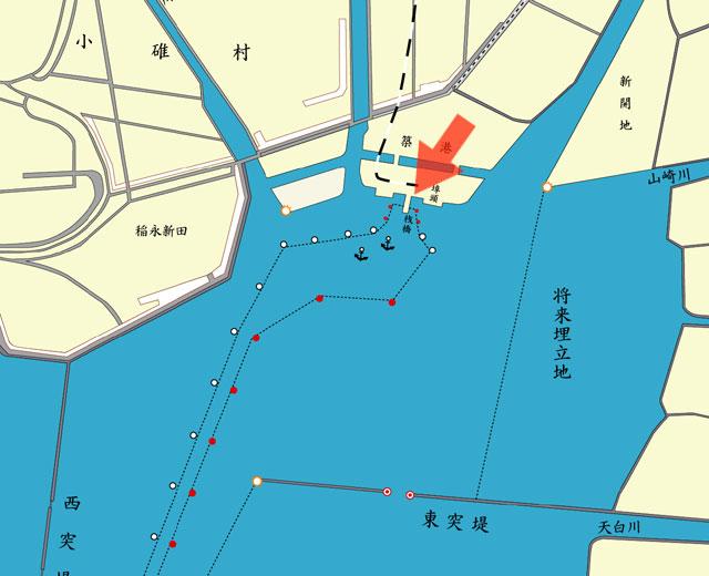 矢印の方向から埠頭を撮影