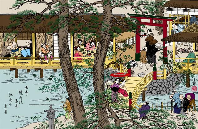 大須七ッ寺の茶店ー尾張名所図会