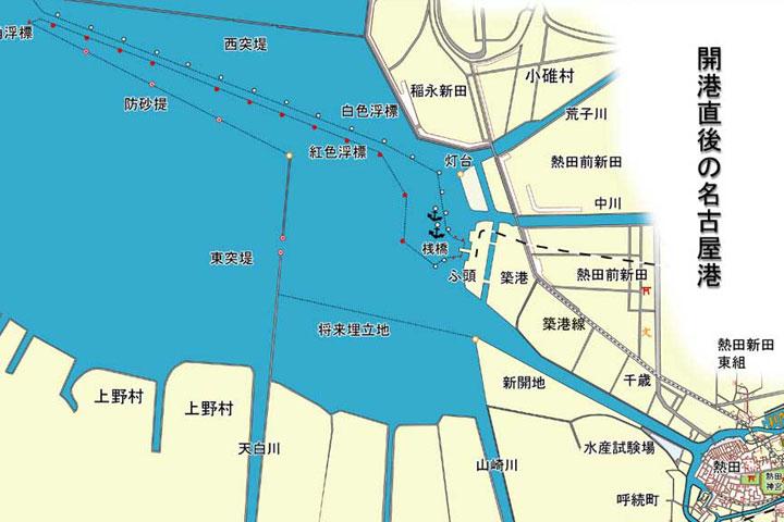 開港直後の名古屋港地図