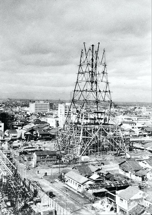 建設中の名古屋テレビ塔 昭和29年竣工